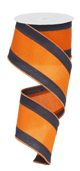 "Satin Tri-Stripe Ribbon: Navy/Orange -  2.5"" X 10Yds"