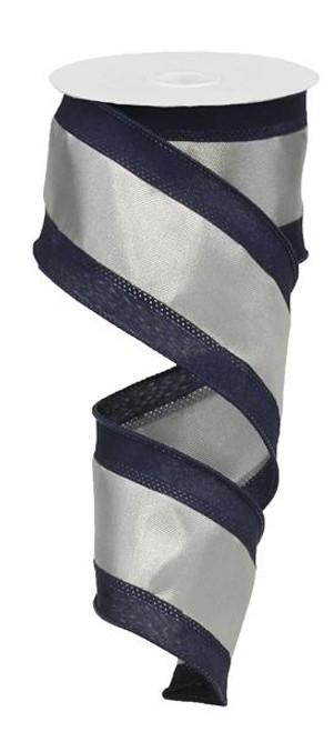 "Satin Tri-Stripe Ribbon: Navy/Grey/Silver -  2.5"" X 10Yds"