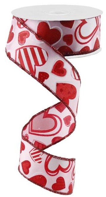 "1.5"" Patterned Hearts Ribbon: Lt Pink/Wht/Red - 10Yds"