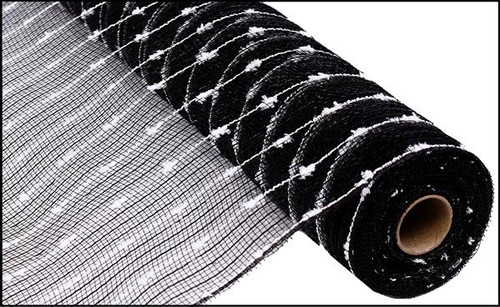 "21"" Metallic Snowball Mesh: Black (10 Yards)"