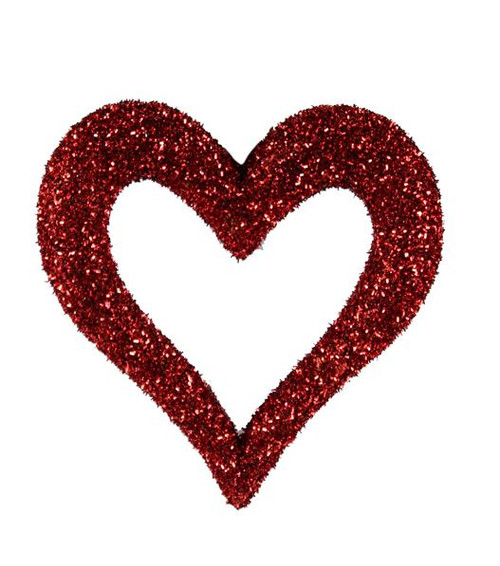 "10"" Red Glitter Open Heart W/ Hanger"