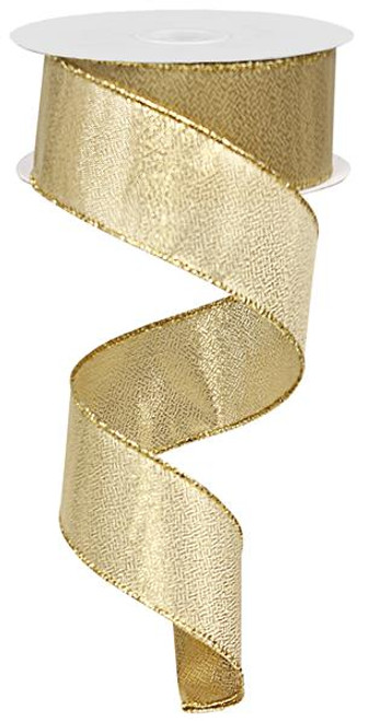 "1.5"" Solid Metallic Gold Ribbon Wired - 10Yds"
