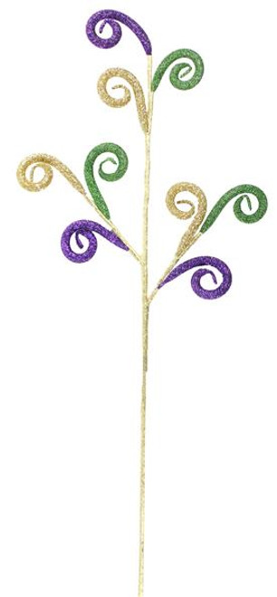 "23"" Mardi Gras Glitter Tube Coil Spray"
