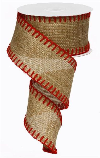"2.5"" Stitch Edge Ribbon: Natural/Red - 10Yd"