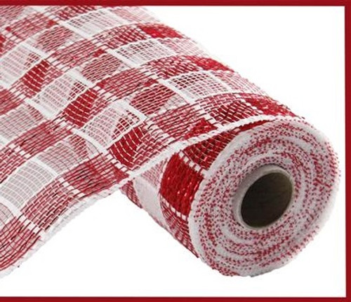 "10"" Deco Poly Mesh: Metallic Check Red/White"