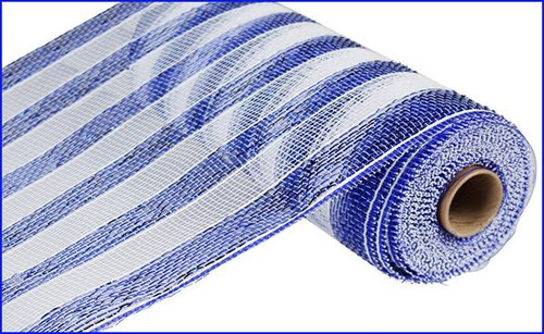 "10"" Deco Poly Mesh: Metallic Royal Blue/White Stripe"