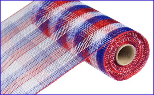 "10"" Deco Poly Mesh: Metallic Check Red/White/Blue"