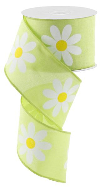 "2.5"" Bold Daisy Print Ribbon: Bright Green - 10Yds"