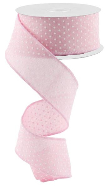 "1.5"" Raised Swiss Dot Ribbon: Lt Pink - 10yd"