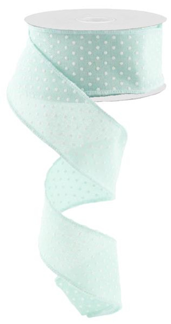 "1.5"" Raised Swiss Dot Ribbon: Mint - 10yd"