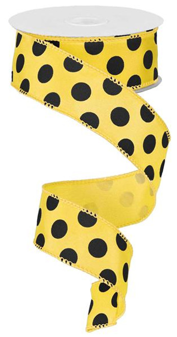 "Yellow/Black Polka Dot Satin Ribbon - 1.5"" x 10Yds"