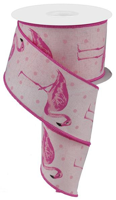 "2.5"" Pink Flamingo Ribbon - 10Yds"
