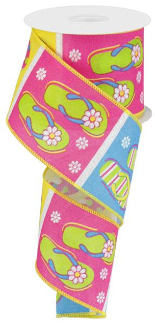 "2.5"" Multi Flip Flop Ribbon on Linen - 10Yds"