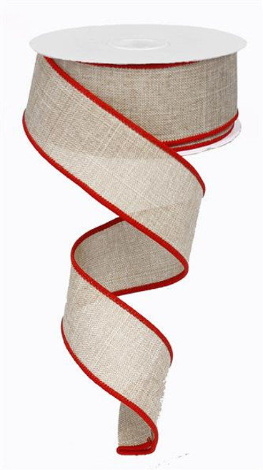 "Natural/Red Edge Linen Ribbon - 1.5"" x 10Yd"