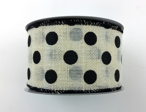 "2.5"" x 10yd Canvas Polka Dot Ribbon: Ivory/Black"