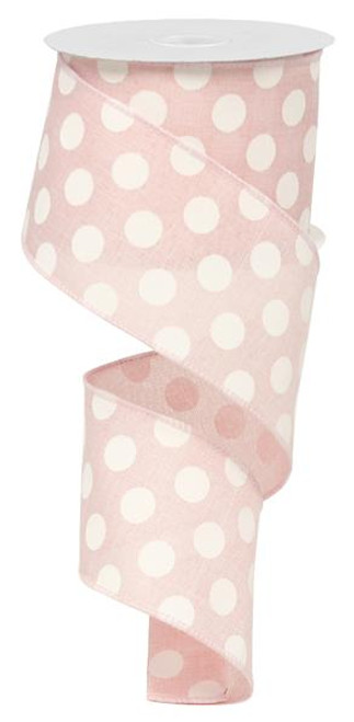 "2.5"" x 10yd Linen Polka Dot Ribbon: Light Pink/White"
