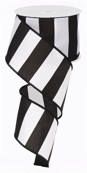 "2.5"" x 10yd Wide Stripe Ribbon: Black/White"