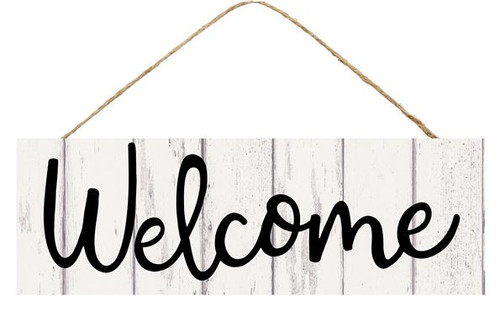 "15"" Rustic Welcome Sign: Grey/Black"