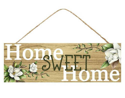 "15"" Home Sweet Home Sign with Magnolias"