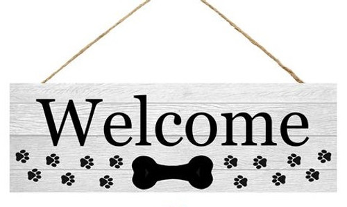 "15"" Welcome Sign with Dog Bone"