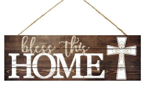 "15"" Bless This Home Sign: Brown/White"