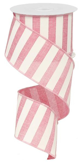 "2.5"" x 10yd Horizontal Stripe Ribbon: Pink/White"