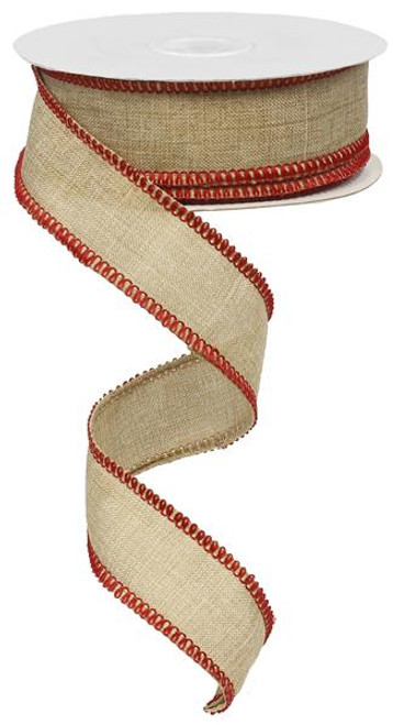 "1.5"" Rough Stitch Edge Ribbon: Natural/Red - 10Yd"