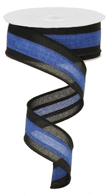 "1.5"" Tri-Stripe Ribbon: Royal Blue/Black"