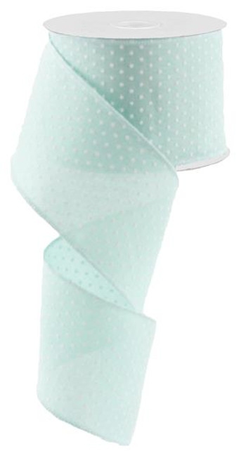 "2.5"" Raised Swiss Dot Ribbon: Mint - 10yd"