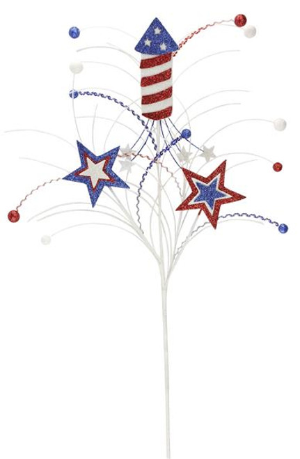 "26"" Patriotic Firecracker Spray with Stars"