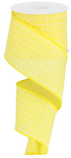 "2.5"" Yellow/White Stitched Square Ribbon - 10Yds"