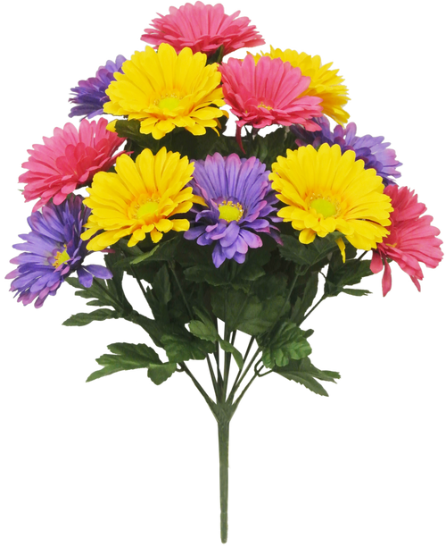 "19"" Gerbera Daisy Bush: Pink/Purple/Yllw (12)"