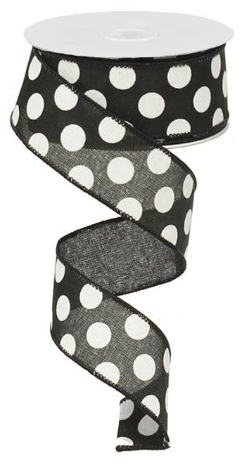 "1.5"" Linen Polka Dot Ribbon: Black/White"