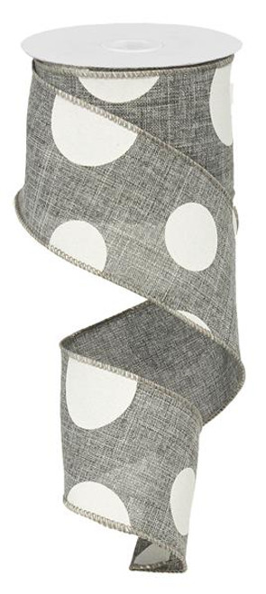 "2.5"" x 10yd Linen Giant Dot Ribbon: Grey/White"