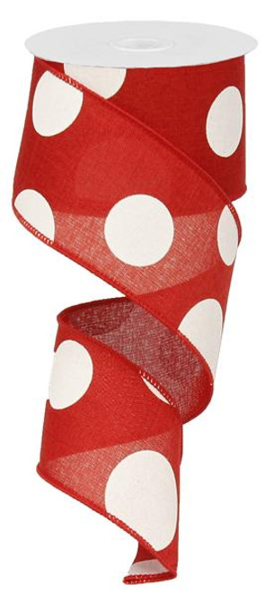 "2.5"" x 10yd Linen Giant Dot Ribbon: Red/White"