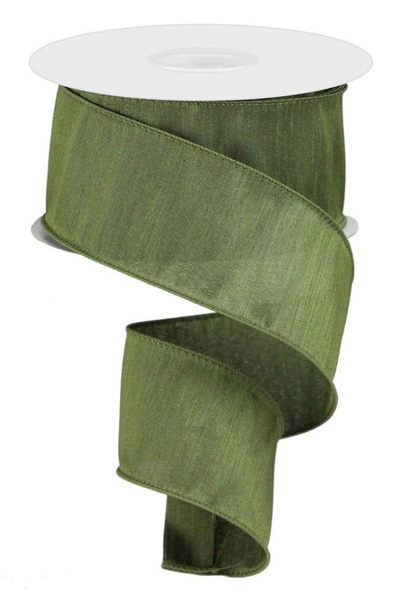 "2.5"" Faux Dupioni Ribbon: Moss Green - 10Yd"