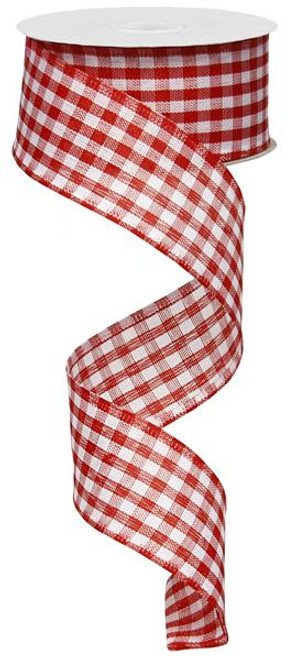 "Red/White Gingham Check Ribbon - 1.5"" X 10Yds"