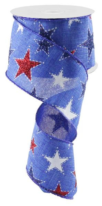"2.5"" Dashed Glitter Star Ribbon: Blue - 10Yds"