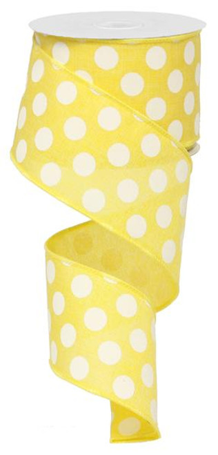 "2.5"" x 10yd Linen Polka Dot Ribbon: Yellow/White"