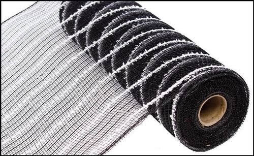 "10.5"" Metallic Cotton Drift Mesh: Black (10 Yards)"