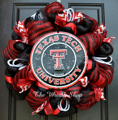 Texas Tech University Mesh Wreath - Tech Red Raiders