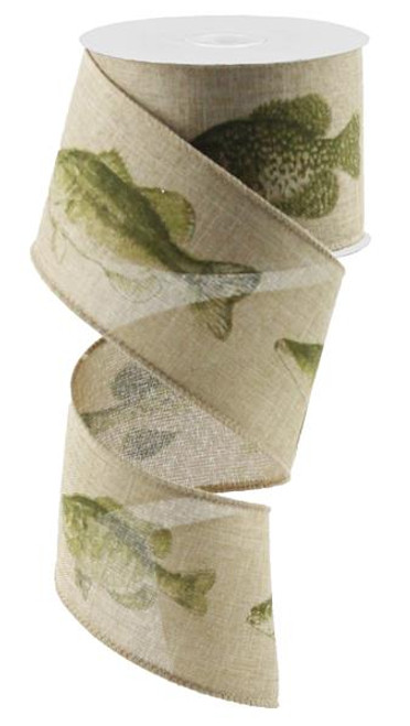 "2.5"" Fresh Water Fish Print Ribbon on Lt Beige - 10Yds"