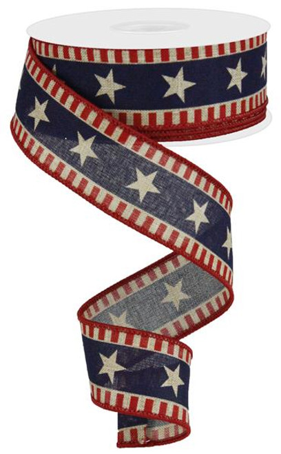 "1.5"" Bold Star/Stripe Ribbon: Red/Beige/Blue - 10Yds"