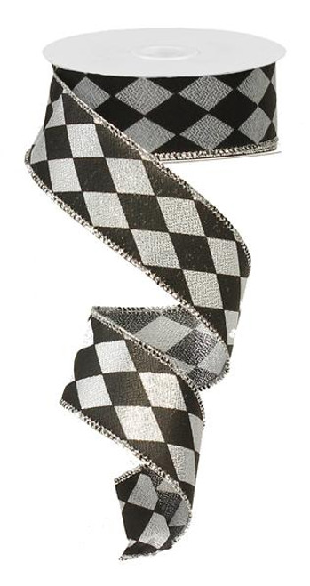 "1.5"" Metallic Harlequin Ribbon: Silver/Black - 10Yds"