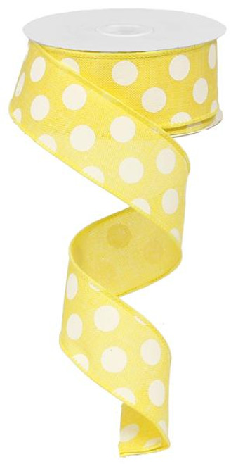 "1.5"" Linen Polka Dot Ribbon: Yellow/White"