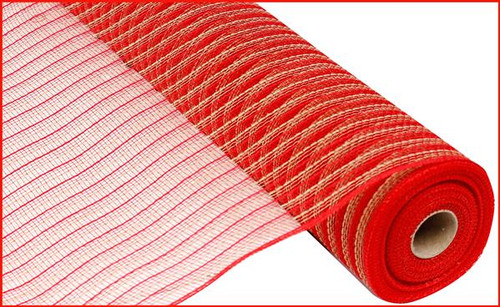 """21"""" Poly Faux Jute Mesh: Red"""