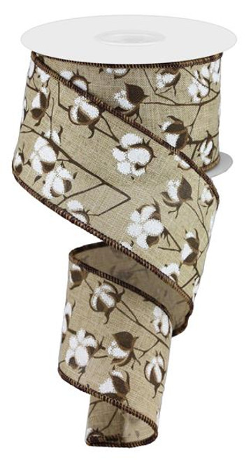 "2.5"" Cotton Pod Ribbon: Natural - 10Yds"