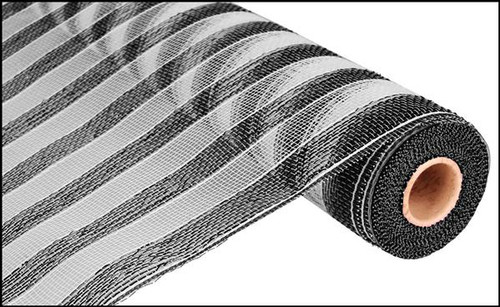 "21"" Deco Poly Mesh: Black/White Stripe"