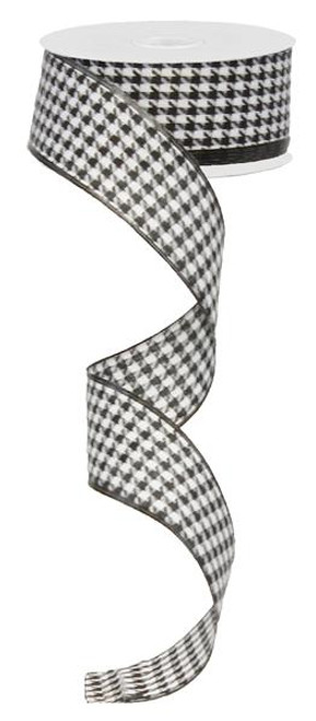 """1.5"""" Black & White Small Houndstooth Ribbon - 10Yds"""