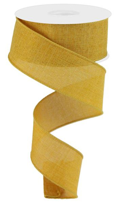 "Dark Mustard Royal Faux Burlap Ribbon - 1.5"" x 10Yd"